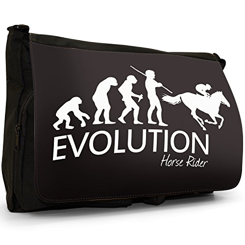 Fancy A Bag Borsa Messenger nero Evolution Of A Skier large Evolution Of A Horse Riding