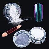Elite99 Chameleon Colour-changing Mirror Chrome Powder Pigment Nail Glitter Effect Nail Art Shine Manicure Salon Tips 1g/Box (Purple-green) with Sponge Stick