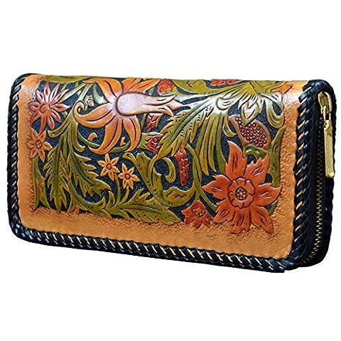 OLG.YAT® Pflanzlich gegerbtes Leder Geldbörse Portemonnaie Börse Brieftasche Handgefertigt Retro 20.5*10.5*4cm OLG-WL20HKFG