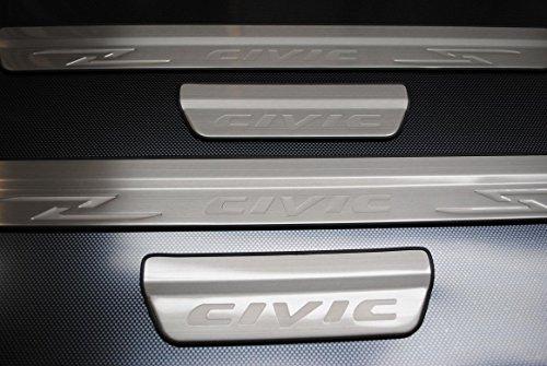 Honda Civic Chrom-Tür Sills Edelstahl-Verschleiss-Platten Zubehör Trim Set 2012 2013 2014 2015 (2015-honda Civic-zubehör)
