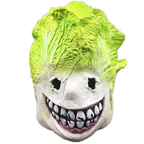 S+S Lustige Maske, Kohlkopfbedeckung Maske Horror Unheimlich Halloween Requisiten Spiel Kostüm Partybedarf Show Live Latex Maske Größe Erwachsene Kinder