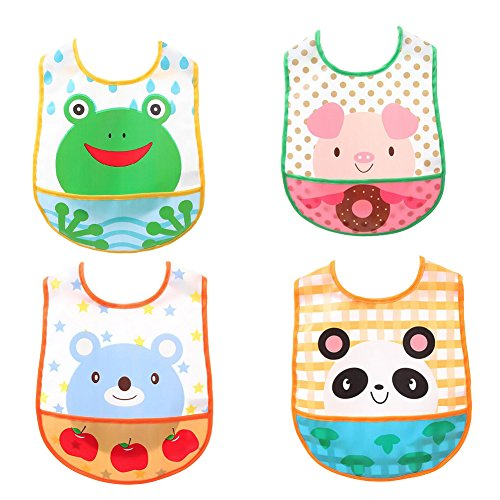 Genda 2Archer Unisex Baby Boys and Girls Nursing & Feeding Bibs Sets with Crumb Catcher (Multicolor Baby-boys)