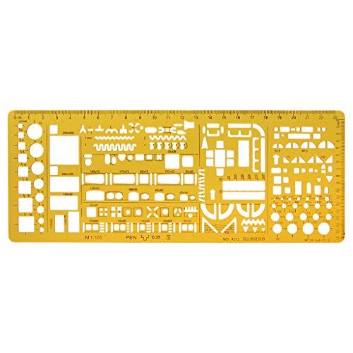 Wanfor Professional Architectural Vorlage Herrscher Zeichnung Schablone Messwerkzeug Student, Schule Produkt Tool