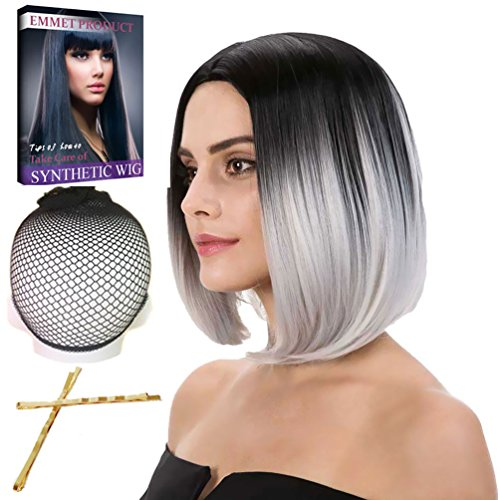 �cke 12Zoll gerade synthetische Schulter volle Perücken für Frauen Cosplay Kostüm mit freie Perücke Kappe + Haarklemmen (Einfach Emmet Kostüm)