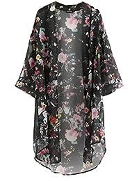 ROPALIA Femmes Floral Cardigan Haut en Mousseline de Soie Veste Kimono Blouse Manteau 3/4 Manches