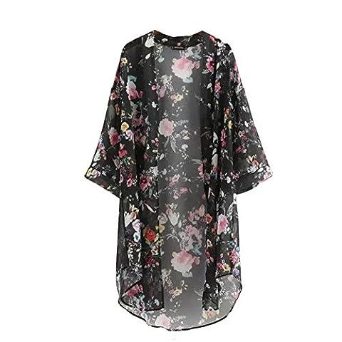 Veste Kimono Femme - ROPALIA Femmes Floral Cardigan Haut en mousseline