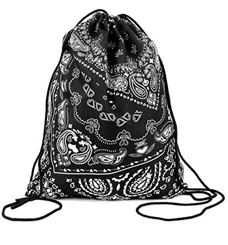 ort-Beutel Bedruckt mit Spruch Motiv Bandana Hipster Gym Bag Sack Festival Rucksack für Unterwegs Reisen Ideales Geschenk Schwarz ()