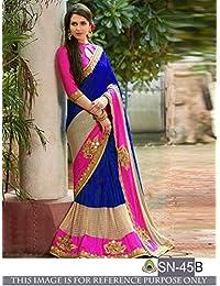 I-Brand Women's Tassar Silk Saree With Blouse Piece (Isunsa1998,Blue,Free Size)