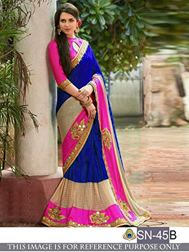 Sunshine Fashion Women's Tassar Silk Saree With Blouse Piece (Sunsa1998_Blue)