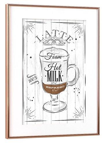 artboxONE Poster mit Rahmen Kupfer 30x20 cm Kaffee Latte von Anna Kozlenko - gerahmtes Poster