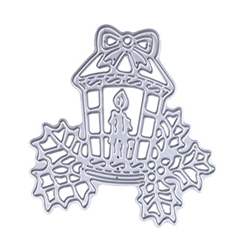 Demiawaking 1Pcs Weihnachtskerze Schneiden Schablonen DIY Sammelalbum Dekor Papier Karten, Metall Buchzeichen , Metall Lesezeichen als Geschenk fuer Freunde