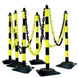 MORAVIA Kettenständer-Set aus Kunststoff mit Hartgummifuß, schwarz/gelb, 175.17.668