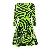 Janisramone Damen Swing-Kleid Kleid schwarz * Einheitsgröße Gr. 42-44, Neon Green