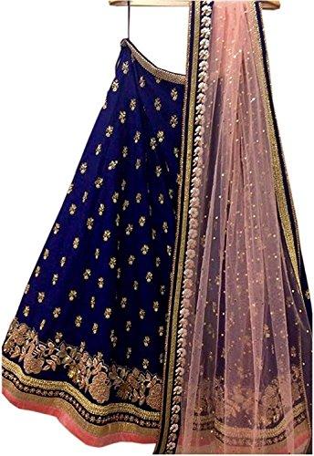 7 Horseselection Women\'s Velvet & Net Lehanga Choli (7HS 1 _Heavy Blue_ Large)