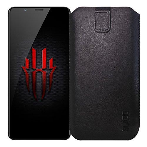 Slabo Schutzhülle für ZTE Nubia Red Magic Schutztasche Handyhülle Case mit Magnetverschluss aus PU-Leder - SCHWARZ | Black