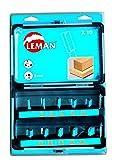 Leman 428.700 1 coffret 10 méches de défonceuse carbure d.8 à 25 queue 8 mm, Bleu