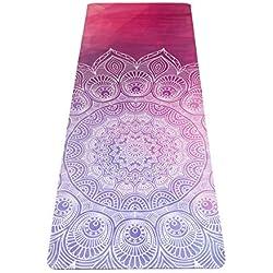 JAP Sports - Esterilla Yoga Colchoneta de Yoga Antideslizante de Goma Natural 2 en 1 Combi Mat y Toalla Ideal para Hot Yoga Bikram Ashtanga 1800 x 600 x 5 mm - Wisdom