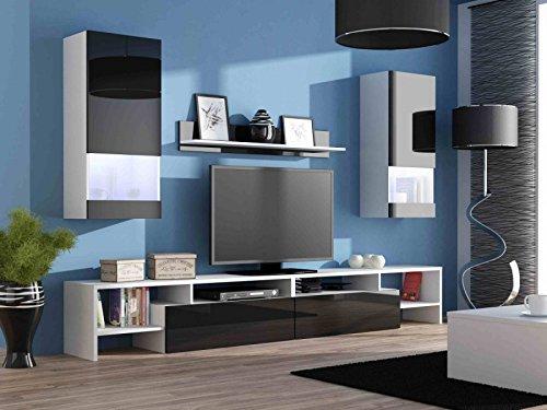 Wohnwand Komplett 'EGO' Hochglanz Wohnzimmer Tv Wand, Farbe:Hochglanz Schwarz/Weiß