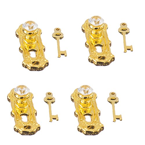 CUTICATE 12. 4 Kristall Türgriffe Platten \u0026 Schlüssel Set Puppenhaus Miniatur Griffe (Platte Türgriff)