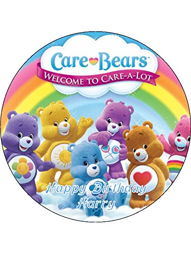 """Image of Care Bears 7.5"""" Round personalised birthday cake topper printed on icing (ICING)"""