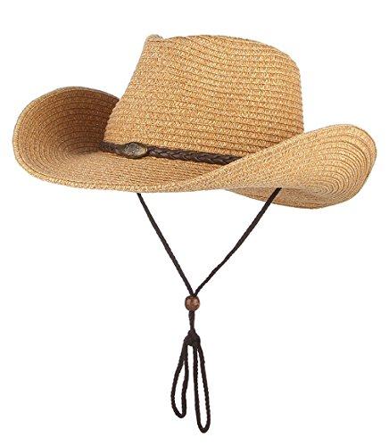 DEMU Unisex Cowboy Hut Faltbar Strohhut Krempe Sommerhut Panama UV Schutzkappe Khaki