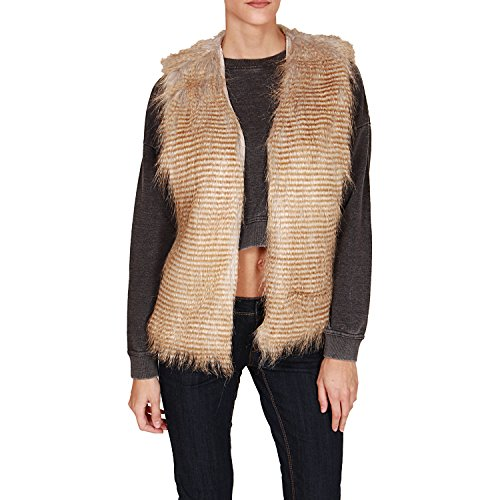 Sublevel Women's Beige Furry Vest Beige