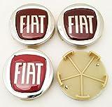 4Nabenkappen mit Logo Fiat, 60mm für Radnaben von Alufelgen