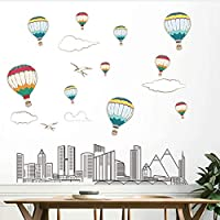 FUZILV Te The Life Of Modern City Home Decoration Wall Sticker Pvc Creative Wall Decal Posters Living Room Bedroom Wall Decals Wallpaper 60X90Cm