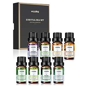 VicTsing Ätherische Öle Set (8x10ml), Essential Oil für Aromatherapie, Duftöl für Aroma Diffuser, 100% Rein Öle, Lavendel, Pfefferminz, Teebaum, Zitronengras, Eukalyptus, Orange, Rosmaril, Weihrauch