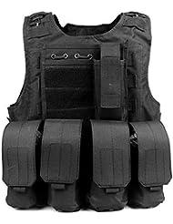 Anzer Gilet tactique militaire Molle avec 4 pochettes amovibles Porte plaque - équipement pour Chasse Airsoft Survie Aventure