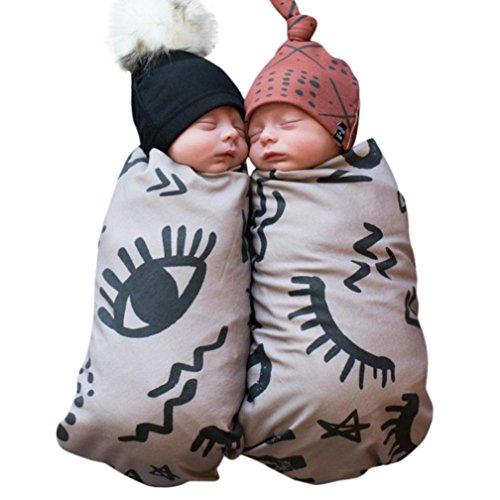 Swaddle & Burp Blanket Puckdecke/Spuckdecke Wickeltuch Decke Schlafende Swaddle Muslin Wrap Babydecke Sommerdecke Kuscheldecke + Niedlich Stirnbänder (Grau) (Niedliche Decke)