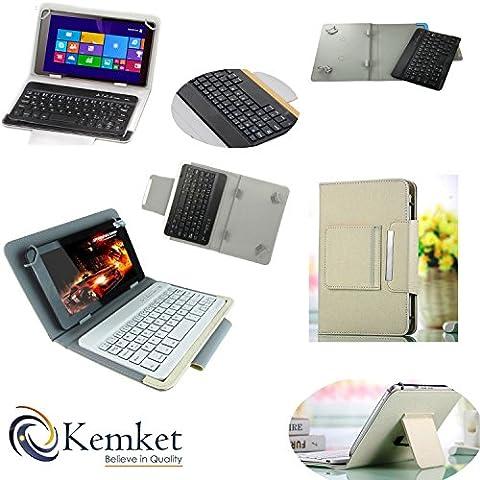 kemket Bluetooth-Tastatur Fall, 17,8cm Tablet Portfolio Leder Case [mit abnehmbarer Bluetooth-Tastatur] Smart faltbar Cover für Samsung Galaxy Note 8.0/Tab 27.0/Tab 37.0/Tab 47.0/Tab 3Lite 7/Tab 38.0/Tab 48.0/Tab Pro 8.4/Tab S 8.4/Acer A1–810/W3–810/ipad mini/Neue iPad Mini Retina Display/Asus Memo Pad HD 7/Dell Venue 8Pro/Nexus 7/Nexus 7HD/17,8–20,3cm Tablets/Unterstützt