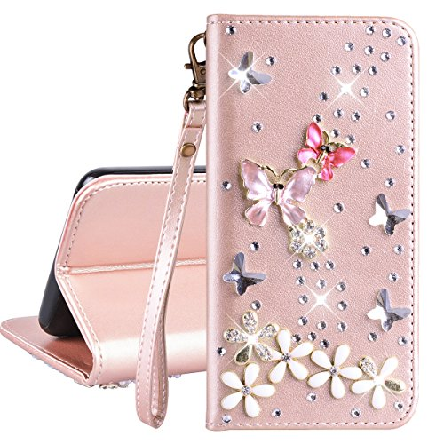 Brieftasche PU Ledertasche Hülle für Galaxy S5 Handschlaufe Schutzhülle Rose Gold Drücken Schmetterling Flip Case Strass 3D Bling Bling Entwurf Schmetterling Farbel Muster Bookstyle Lederhülle