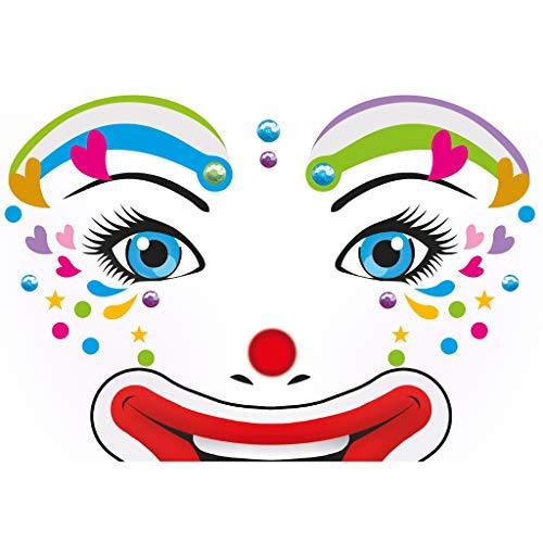 HERMA 15427 Face Art Sticker Clown Lotta Gesicht Aufkleber Glitzer Sticker für Fasching, Karneval, Halloween, dermatologisch getestet -