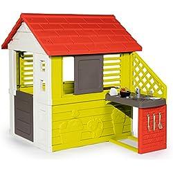 Smoby Maison Cuisine ETE Casa Nature y Cocina de Verano, Color Verde, Gris, Rojo (810702)