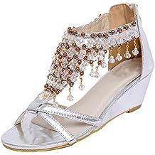 NiSeng Mujer Sandalias Moda Brillante Colgante Con Cuentas Sandalias Elegante Cuñas Sandalias Bohemia Sandalias