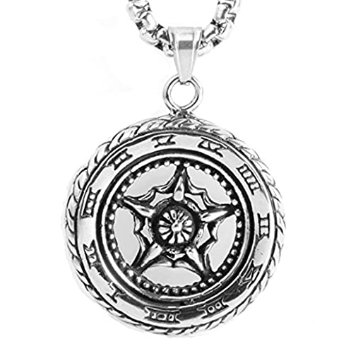 Epinki Fashion Jewelry Stainless Steel Men Necklace Punk Rock Large Pentagram Silver Pendant Necklace