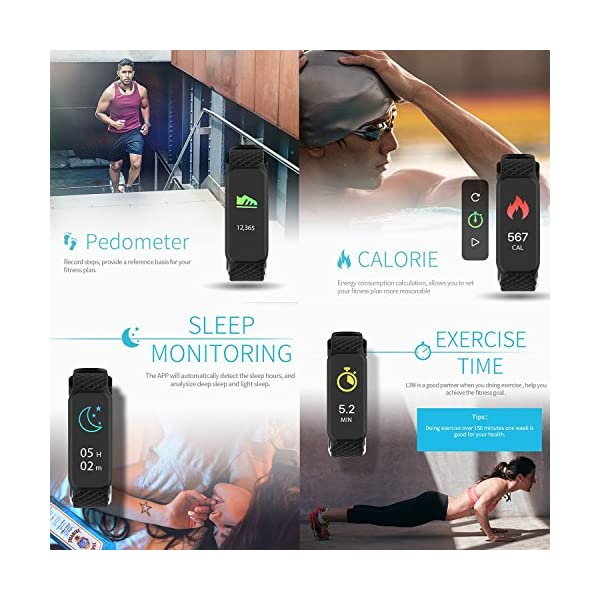 AGPTEK L38i Fitness Tracker Color Screen IP67 Rainproof Heart Rate Monitor Sleep Monitor Pedometer Calorie Goal Clock Alarms Smart Wristband For Android Smartphone Samsung LG HTC