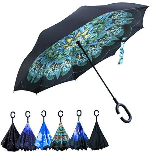Opret Paraguas Invertido, el Mejor Paraguas Original Inverso Antiviento Grande, Paraguas Reversible de Dentro Afuera con Manos Libres, Mango en Forma de C, para Mujer y Hombre