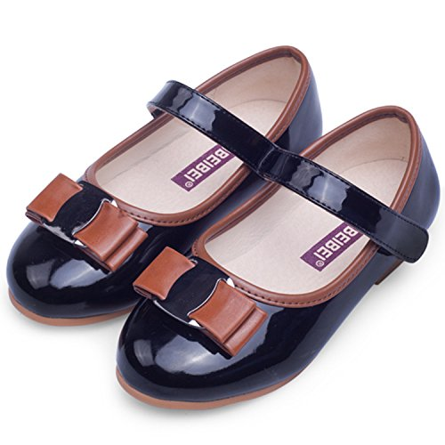 Oasap Girl's Velcro Patent Leather Bow Mary Jane Shoes Black