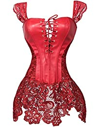WONDER BEAUTY Mujer Sexy Lencería Corsés Cuero Steampunk Overbust Burlesque Corset Bustier Top