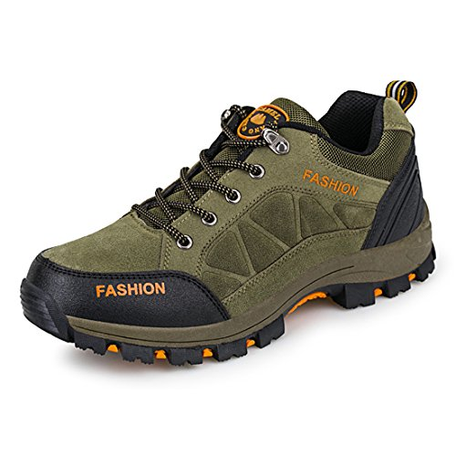 ailishabroy Marca Hombre Trekking Escalada Lace Up Zapatillas de Paseo Desgaste y impermeable Zapatillas Hombre Deportes de exterior (43, Green)