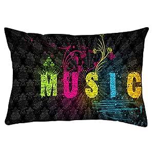 "Snoogg Music Rectangle Toss Throw Pillow Cushion Cover Decoarative Pillow Case 16 x 24"""