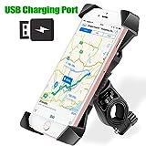 Handyhalterung Motorrad/Fahrrad, Baonuor Universal Handy-Halter mit USB Ladeanschluss Anti-Shake Smartphone Lenkerhalterung für Motorad Radsport 360° Drehbar Für 3,5-6,5 Zoll Smartphone GPS Geräte