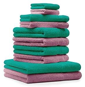 10 tlg Handtuch Set Premium Farbe Smaragd Grün & Altrosa 100% Baumwolle 2 Duschtücher 4 Handtücher 2 Gästetücher 2 Waschhandschuhe