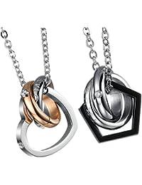aa7056e70a87 Onefeart Acero Inoxidable Collar Colgante para Pareja Redondo Zircon Creativo  Diseño Tres Anillos
