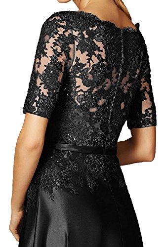 Toscana sposa nero elegante pizzo madre della sposa abito corto Arm Satin Sera Vestiti Lunghi Vestiti Da Ballo Prom abiti Argento