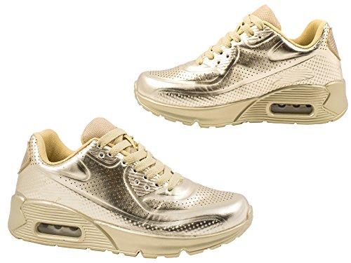 best-boots Unisex Damen Herren Sneaker Laufschuhe Turnschuhe GOLD-NEW