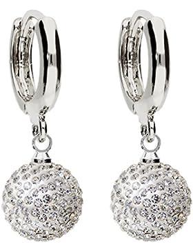 MYA art Damen Perlenohrringe Hängend Creolen Hängende Ohrringe Ohrhänger 925 Sterling Silber mit Glitzer Perlen...