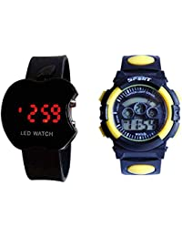 ROKCY BLACK APPLE LED & KIDS YELLOW WATCH FOR BOYS AND MEN Digital Watch - For Men